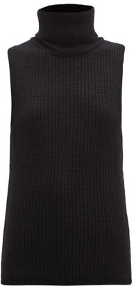 LA COLLECTION Deborah Sleeveless Roll-neck Cashmere Sweater - Black