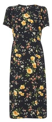 Dorothy Perkins Womens Black Floral Print Empire Seam Split Midi Dress, Black