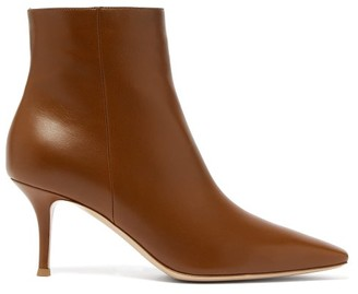 Gianvito Rossi Point-toe 70 Leather Ankle Boots - Womens - Tan
