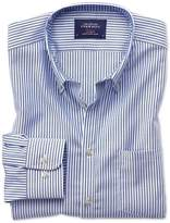 Charles Tyrwhitt Classic Fit Non-Iron Oxford Royal Blue Bengal Stripe Cotton Casual Shirt Single Cuff Size Large