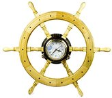 Premium Nautical Luxurious Elegant Pine Maritime Crafted Brass Porthole Clock Ship Wheel With Large Roman Dial Face | Sailor's Nursery Birthday Gift | Nagina International (18 Inches)