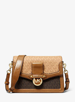 MICHAEL Michael Kors Jessie Medium Two-Tone Logo And Leather Shoulder Bag