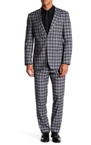 English Laundry Gray Plaid Two Button Peak Lapel Trim Fit Suit