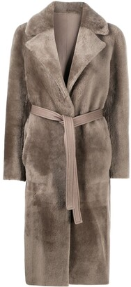 Blancha Belted Fur-Trim Coat