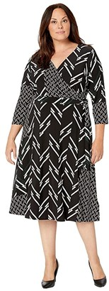 Lauren Ralph Lauren Plus Size Printed Matte Jersey Carlyna 3/4 Sleeve Day Dress (Black/Dark Fern/Colonial Cream) Women's Clothing