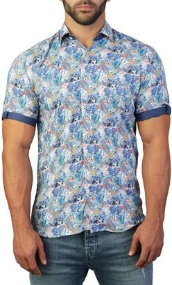 Maceoo Galileo Short Sleeve Jungle Print Tailored Fit Dress Shirt