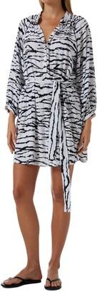 Melissa Odabash Amy Tiger Stripe Long Sleeve Cover-Up Shirtdress