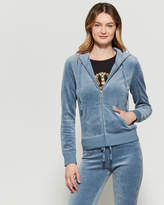 Juicy Couture Dusty Navy Velour Gothic Crystal Hoodie