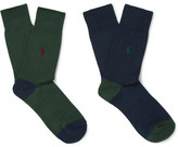 Polo Ralph Lauren Two-pack Ribbed-knit Cotton-blend Socks - Multi