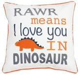 "Thro Danny Dinosaur ""Rawr Means I Love You In Dinosaur"" Square Throw Pillow in Navy/Orange"