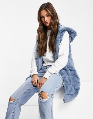 Jayley faux-fur hooded zip through vest in blue