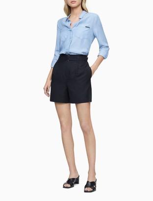Calvin Klein Ramie Blend Black Belted High Waist Shorts