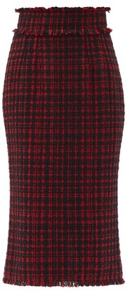 Dolce & Gabbana Raw-edge High-rise Tweed Pencil Skirt - Black Red
