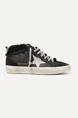Golden Goose Mid Star Shearling-lined Distressed Leather And Suede Sneakers - Black