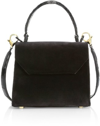 Nancy Gonzalez Mini Lily Leather-Trimmed Velvet Top Handle Bag