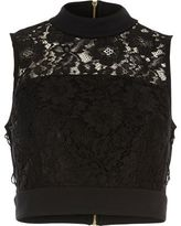 River Island Woblack Lace Tied Side Crop Top