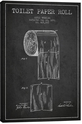 iCanvas Toilet Paper Charcoal Patent Blueprint Canvas Wall Art
