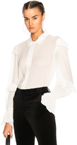 Frame Victorian Ruffle Blouse in White.