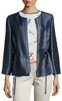 Armani Collezioni Drawstring Bracelet-Sleeve Zip Jacket, Blue/Multi