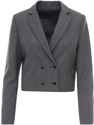 L'Autre Chose Notched Lapels Cropped Blazer
