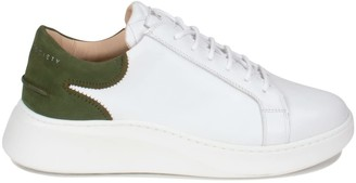 Crafted Society Matteo Low Sneaker - White & Olive Full Grain Leather / White Outsole