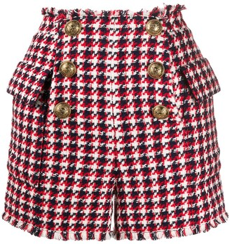 Balmain Tweed Houndstooth High-Waisted Shorts
