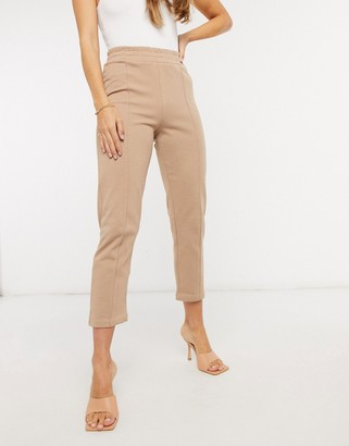 NA-KD basic seam detail joggers in tan