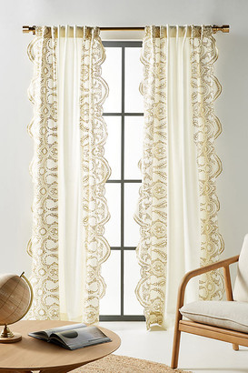 """Anthropologie Embroidered Dedhia Curtain By in Yellow Size 50"""" X 96"""""""