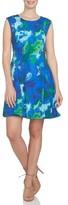 CeCe Women's Watercolor Print A-Line Knit Dress