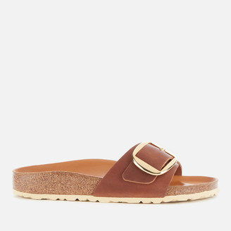 Birkenstock Women's Madrid Big Buckle Oiled Leather Double Strap Sandals - Cognac
