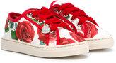 MonnaLisa rose print sneakers - kids - Cotton/Canvas/rubber - 24