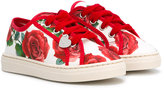 MonnaLisa rose print sneakers - kids - Cotton/Canvas/rubber - 26