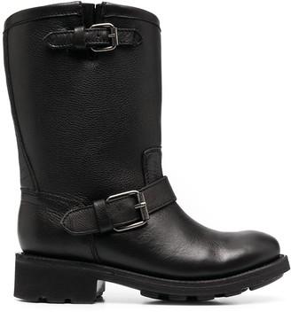 Ash Buckle-Strap Calf-Length Boots