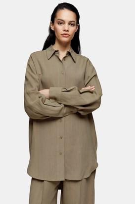 Topshop Olive Twill Oversized Shirt