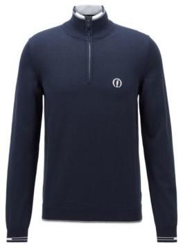 HUGO BOSS The Open Exclusive Zip Neck Sweater In Organic Cotton - Dark Blue
