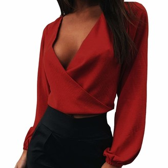 NPRADLA Women Long Sleeve Wrap T Shirt Deep V Neck Backless Lace Up Blouse Crop Tops Red