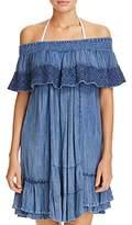 Muche Et Muchette Muche et Muchette Gavin Embroidered Off-the-Shoulder Ruffle Dress Swim Cover-Up