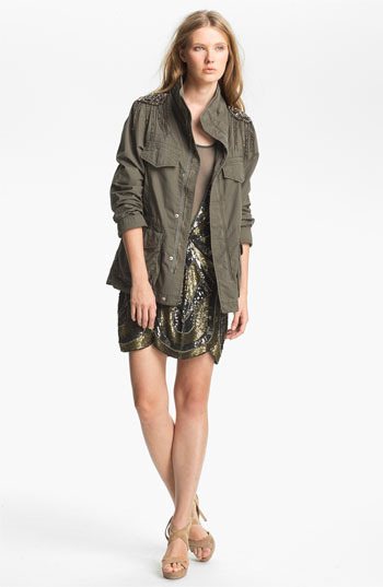 Haute Hippie Sequin Shoulder Military Jacket Military X-Small