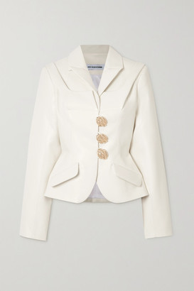 LADO BOKUCHAVA Button-embellished Paneled Faux Leather Blazer - White