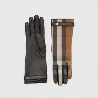 Burberry Cashmere-lined Technical Check and Lambskin Gloves