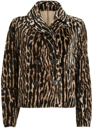Yves Salomon Reversible Leopard Shearling Moto Jacket