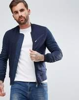 Armani Jeans Slim Fit Embossed Logo Bomber Jacket Navy