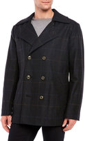 Hart Schaffner Marx Double-Breasted Plaid Wool Peacoat