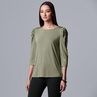 Vera Wang Petite Simply Vera Puff Sleeve Top