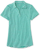 L.L. Bean Womens West End Fitted Polo, Short-Sleeve Splitneck Stripe