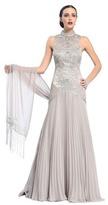 Sue Wong Mock Neck Drop Waist Gown in Platinum Sleeveless Dress