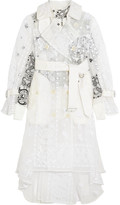 Sacai Embroidered organza and printed poplin trench coat