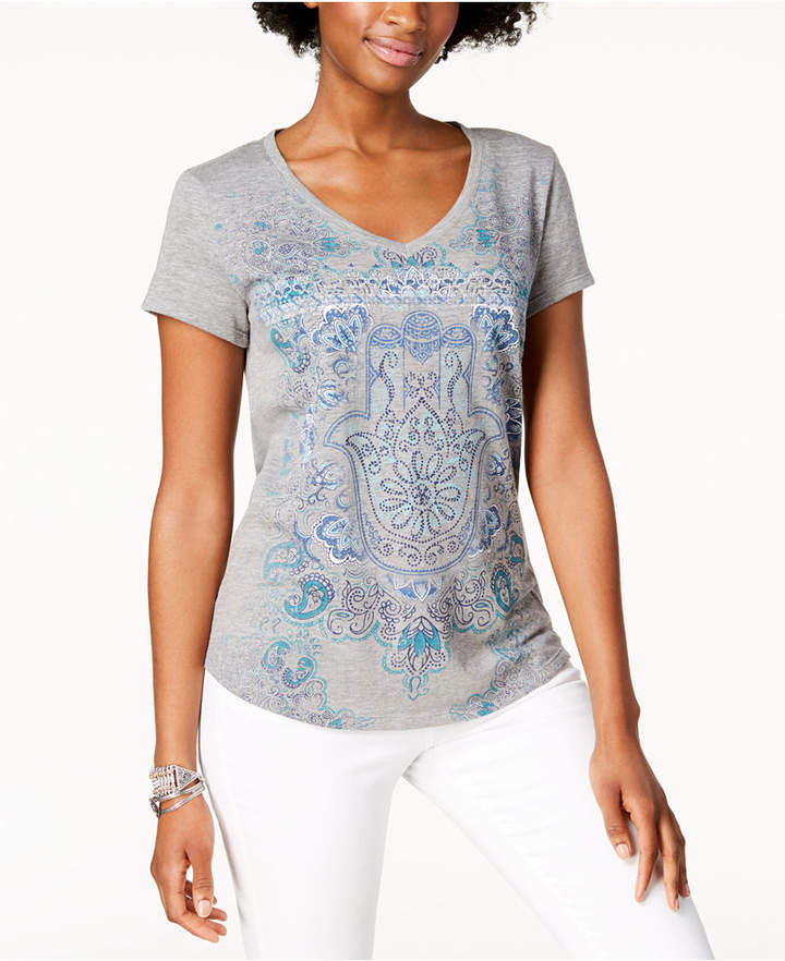 Style&Co. Style & Co Graphic V-Neck T-Shirt, Created for Macy's