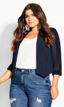 City Chic Cropped Blazer Jacket - navy