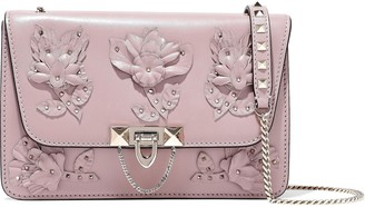 Valentino Floral-appliqued Leather Shoulder Bag